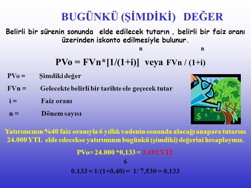 PVo = FVn*[1/(1+i)] veya FVn / (1+i)